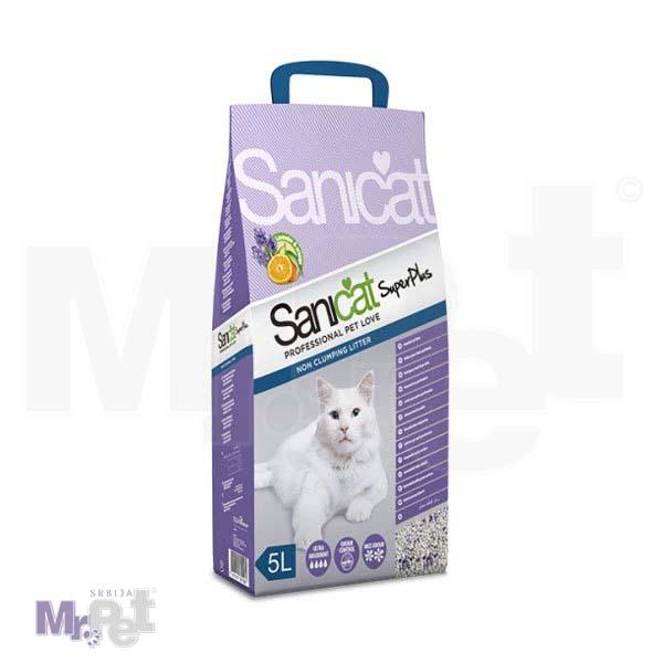 SANICAT pesak za mačji toalet Super Plus (prirodni sepiolit, upijajući sa mirisom lavande i pomorandže)