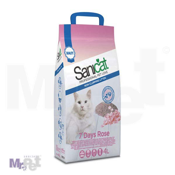 SANICAT pesak za mačji toalet 7 days roses
