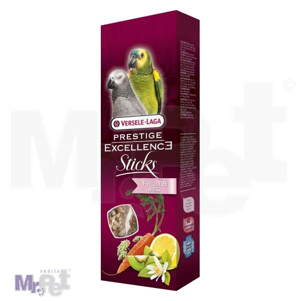 PRESTIGE poslastice za velike papagaje Excellence Sticks Parrots - Fruit i Veg - 2 kom
