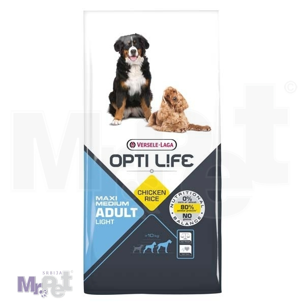OPTI LIFE hrana za pse Adult Light Medium i Maxi
