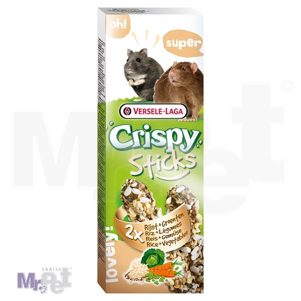 CRISPY poslastice za glodare Sticks Hamsters-Rats Rice i Vegetables 2 kom 110 g