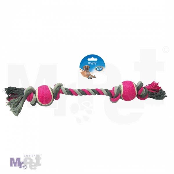 DUVO igračka pleteni kanap 4 petlje i 2 x tenis lopta