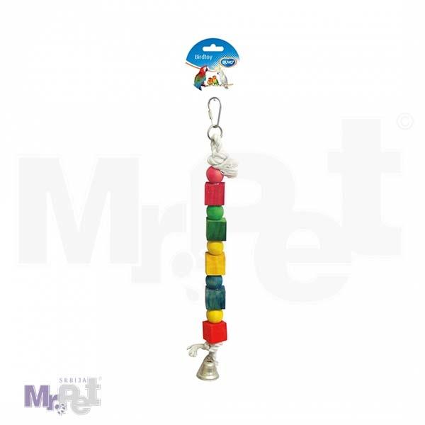 DUVO igračka za ptice kanap sa zvonom i drvenim kockama 35 cm
