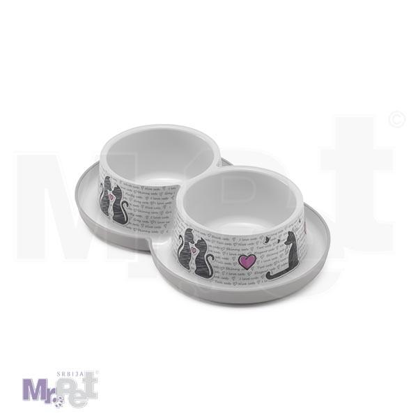 Moderna Dupla činija Trendy Dinner Double Cats in Love