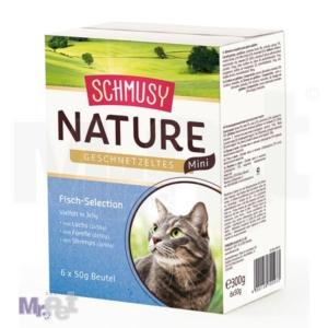 Schmusy Nature Geschnetzeltes Mini, hrana za mačke 6 x 50 g (3 x 2 ukusa)