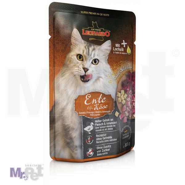 LEONARDO hrana za mačke Duck mesni sos, pačetina sa sirom bez žitarica, 85 g