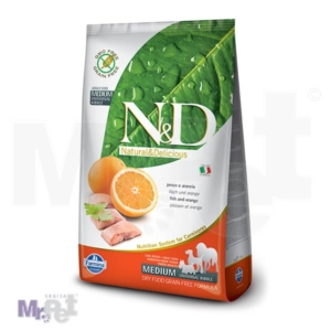 N&D Grain Free Hrana za pse Medium Adult, riba i pomorandža