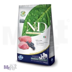 N&D Grain Free Hrana za pse Medium Adult, jagnjetina i borovnica