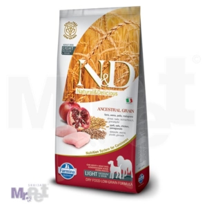 N&D Low Grain Hrana za pse sa prekomernom težinom Medium/Maxi Light, Piletina i Nar, 12 kg 12 kg