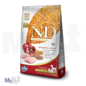N&D Low Grain Hrana za starije pse Mini/Medium Senior, Piletina i Nar 2,5 kg