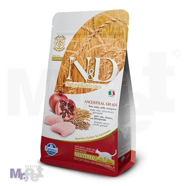 N&D Low Grain Hrana za odrasle sterilisane mačke, piletina i nar