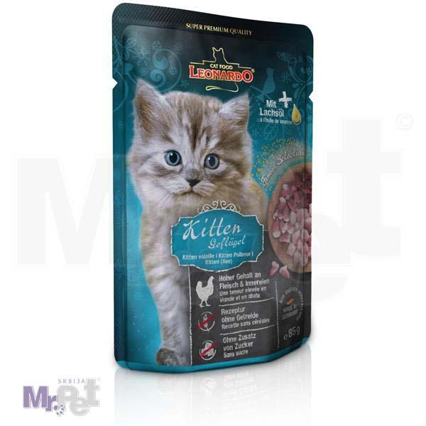 LEONARDO hrana za mačke Kitten mesni sos, za mačiće bez žitarica, 85 g