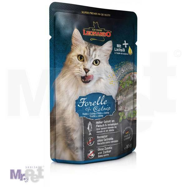 LEONARDO hrana za mačke Trout mesni sos, pastrmka sa dodatom mačjom travom bez žitarica, 85 g