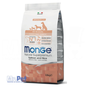 Monge hrana za štence Monoprotein All Breeds Puppy and Junior, losos i pirinač