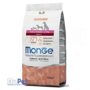 Monge hrana za pse minijaturnih rasa Monoprotein Extra Small Adult, losos i pirinač, 2.5 kg