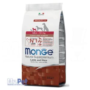 Monge hrana za štence malih rasa Monoprotein Mini Puppy and Junior, jagnjetina i pirinač