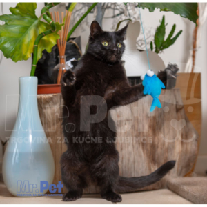 Rogz Teaser Plush Fish Wand, S, zabavna igračka za mačke